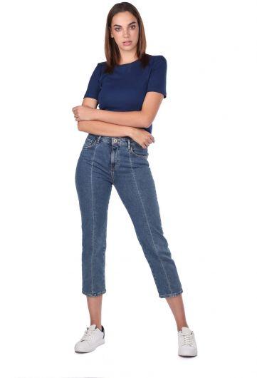 Blue White Kadın Şerit Detayı Kot Pantolon - Thumbnail