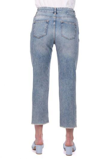 Blue White Kadın Kesik Paça Şeritli Jean Pantolon - Thumbnail