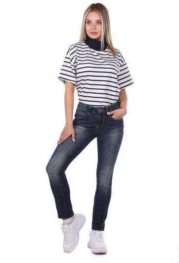 Blue White Kadın Jean Pantolon - Thumbnail