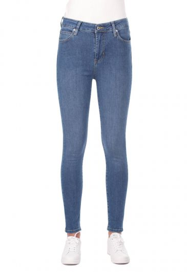 Blue White Yüksek Bel Kadın Kot Pantolon - Thumbnail