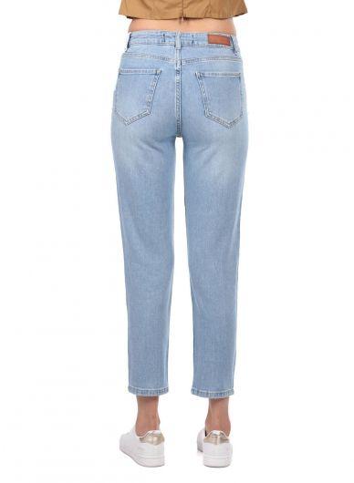 Blue White Kadın Açık Jean Pantolon - Thumbnail