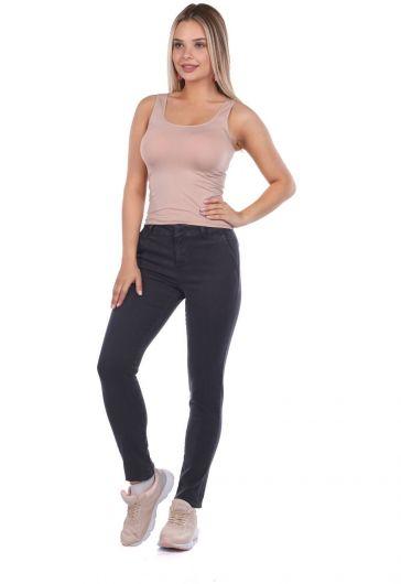 Blue White Kadın Yüksek Bel Kot Pantolon - Thumbnail