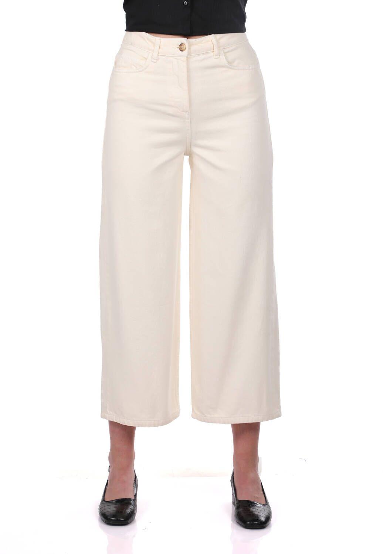 Blue White Kadın Geniş Paça Ekru Jean Pantolon