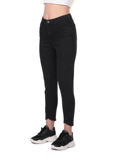 BLUE WHITE - Blue White Kadın Paça Detaylı Siyah Kot Pantolon (1)