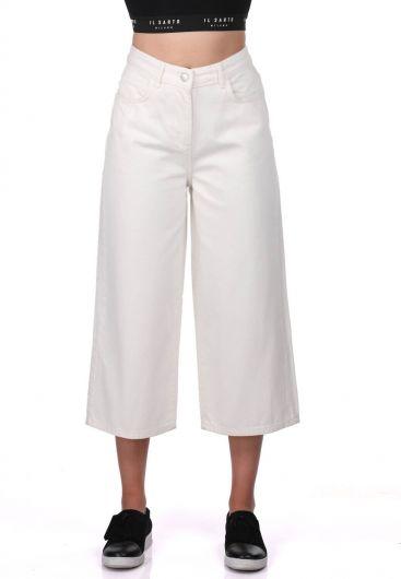 Blue White Geniş Paça Beyaz Pantolon - Thumbnail