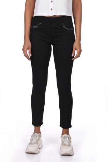 Blue White Kadın Siyah Tayt Jean Pantolon - Thumbnail