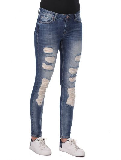 BLUE WHITE - Blue White Kadın Yırtık Skinny Jean Pantolon (1)