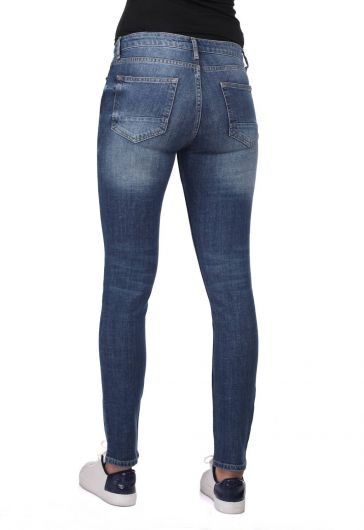 Blue White Kadın Yırtık Skınny Kot Pantolon - Thumbnail