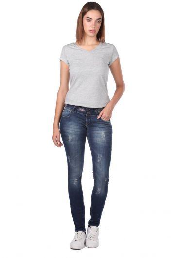 Blue White Kadın Desenli Kot Pantolon - Thumbnail