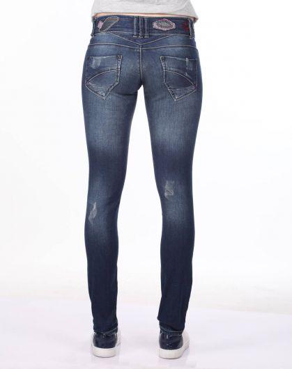 Blue White Kadın Desenli Jean Pantolon - Thumbnail
