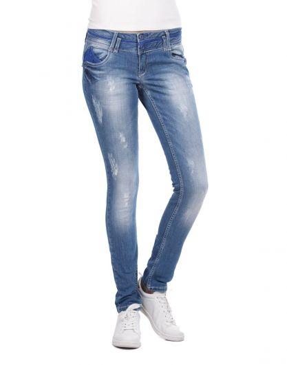 Blue White Mavi Güpürlü Kadın Kot Pantolon - Thumbnail