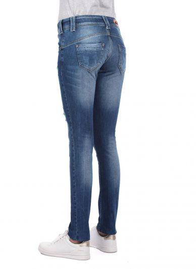 Blue White Kadın 5 Düğmeli Şalvar Jean Pantolon - Thumbnail
