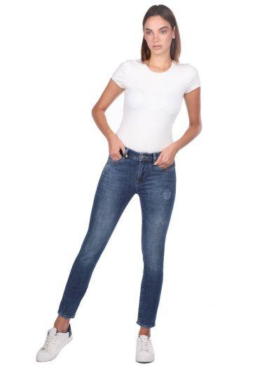 Blue White Skinny Jean Pantolon - Thumbnail