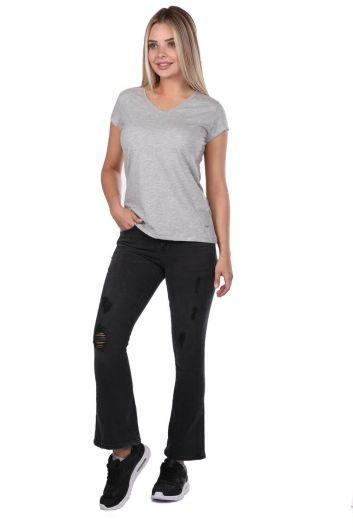 Blue White Kadın Siyah Pantolon - Thumbnail