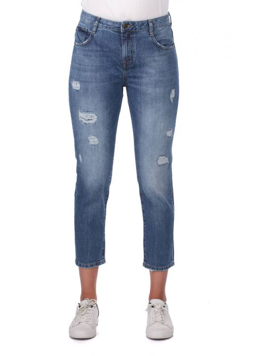 Blue White Kadın Mom Fit Jean Pantolon