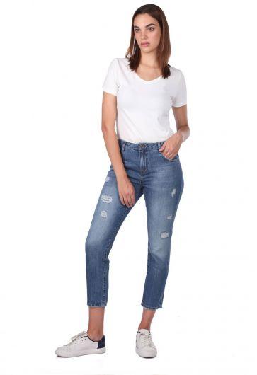 Blue White Kadın Mom Jean Pantolon - Thumbnail