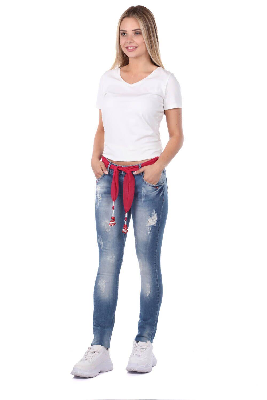 Blue White Kadın Pembe Kemerli Jean Pantolon