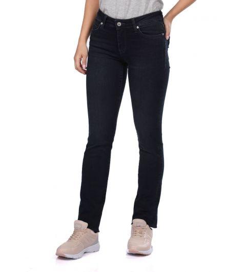 BLUE WHITE - Blue White Kadın Regular Fıt Siyah Jean Pantolon (1)
