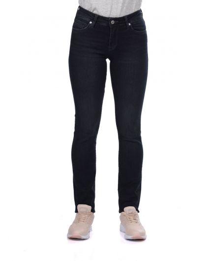 Blue White Kadın Regular Fit Siyah Jean Pantolon - Thumbnail