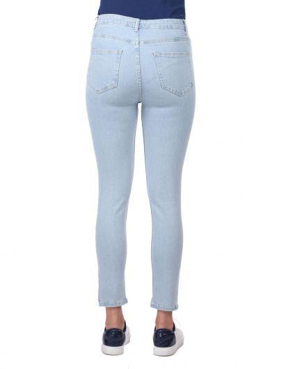 Blue White Kadın Yüksek Bel Jean Pantolon - Thumbnail