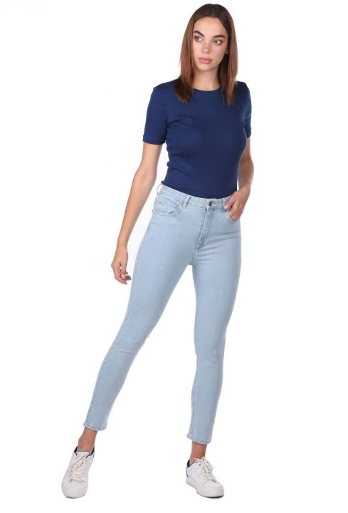 Blue White Kadın Yüksek Bel Jean Pantolon