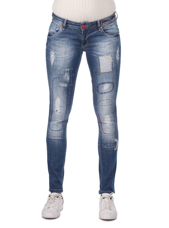 Blue White Kadın Desen Detaylı Jean Pantolon