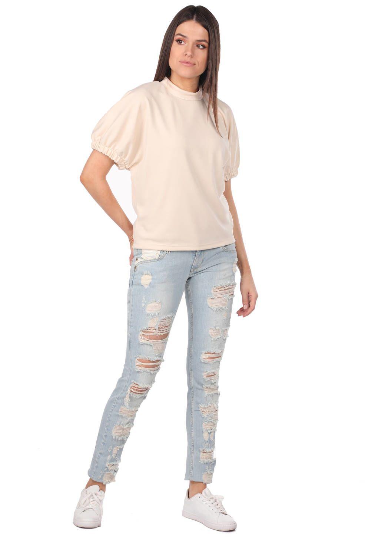 Blue White Kadın Yırtık Kot Pantolon