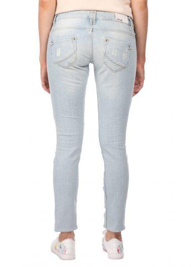 Blue White Kadın Yırtık Kot Pantolon - Thumbnail
