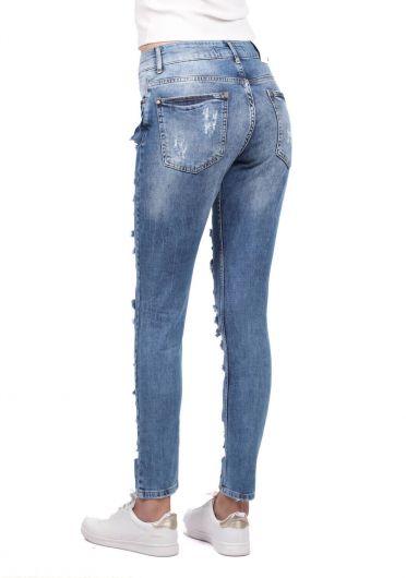 Blue White Kadın Koyu Yırtık Jean Pantolon - Thumbnail