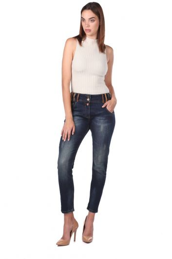 Blue White Kadın Renkli Kemer Detaylı Jean Pantolon - Thumbnail