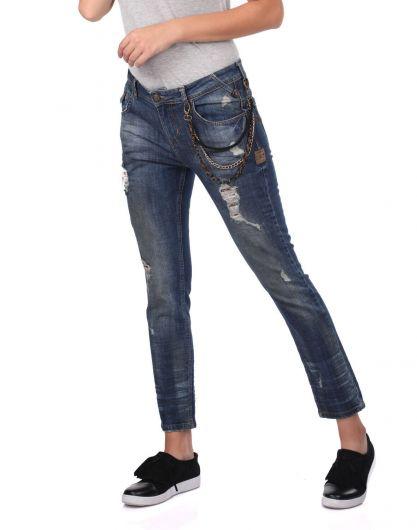 Blue White Kadın Zincir Detaylı Jean Pantolon - Thumbnail