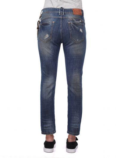 Blue White Kadın Zincir Detaylı Kot Pantolon - Thumbnail