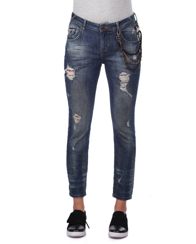 Blue White Kadın Zincir Detaylı Jean Pantolon