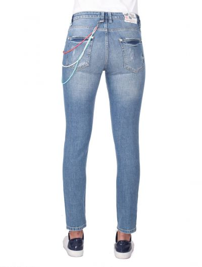 Blue White Yırtık Kadın Jean Pantolon - Thumbnail