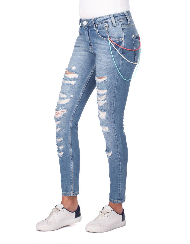 Blue White Yırtık Kadın Kot Pantolon