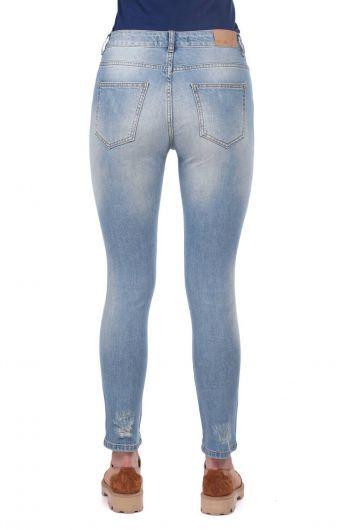 Blue White Kadın Yırtık Jean Pantolon - Thumbnail