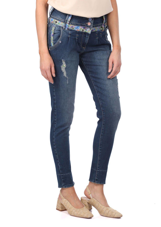 Blue White Kadın Çiçek Desenli Kot Pantolon