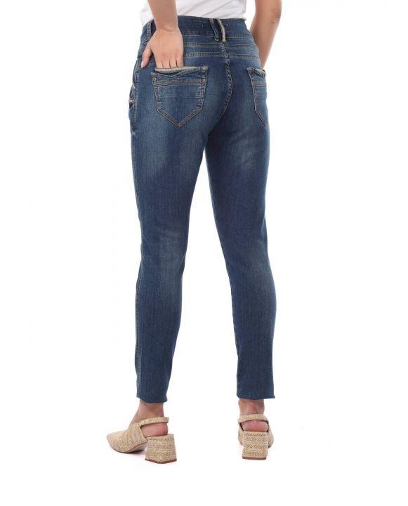 Blue White Kadın Çizgi Detaylı Şalvar Jean Pantolon