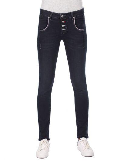 Blue White Kadın Cep Detaylı Düğmeli Şalvar Jean Pantolon - Thumbnail