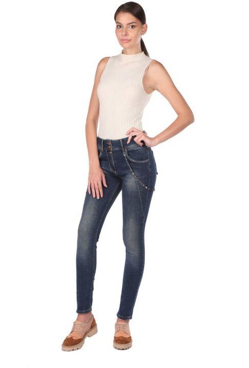 Blue White Kadın Şalvar Jean Pantolon