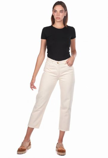 Blue White Mom Fit Kadın Jean Pantolon - Thumbnail