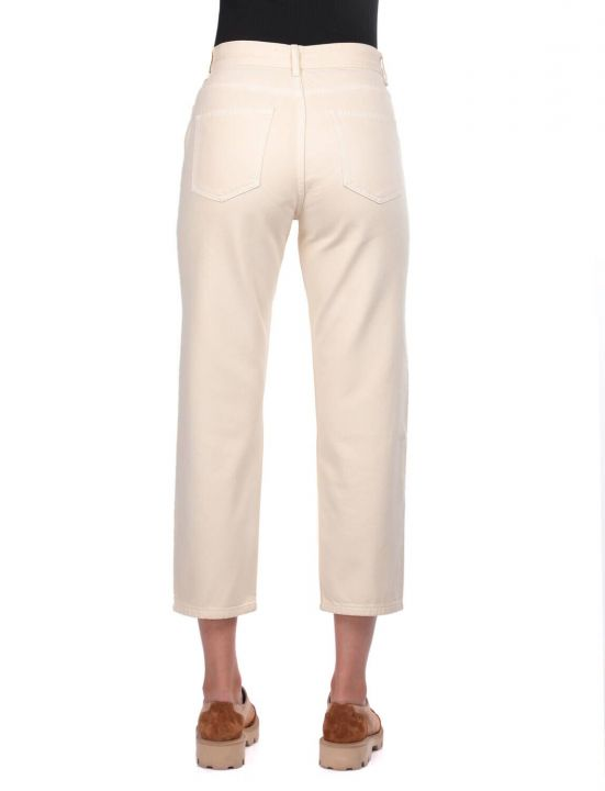 Blue White Mom Fit Kadın Jean Pantolon