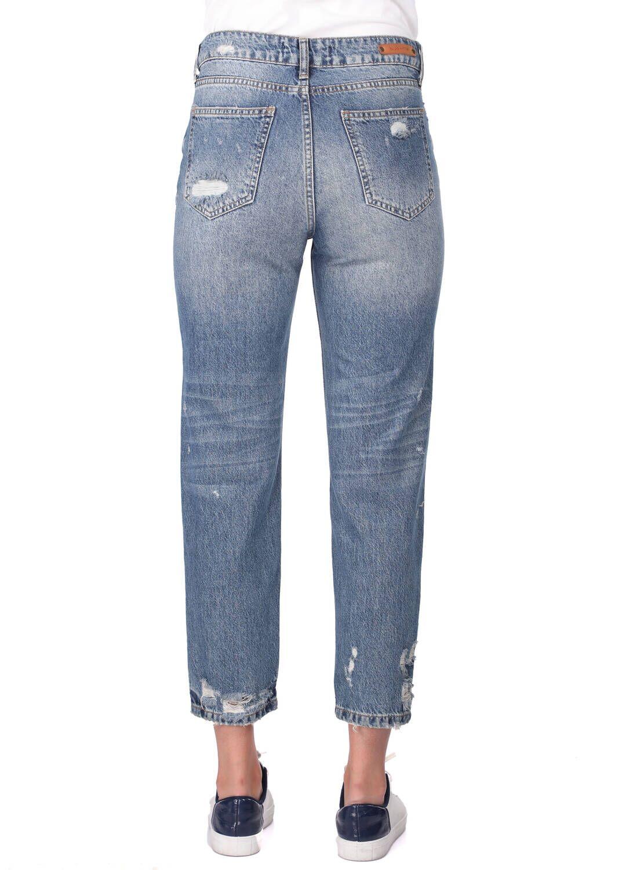 Blue White Kadın Mom Fıt Kot Pantolon