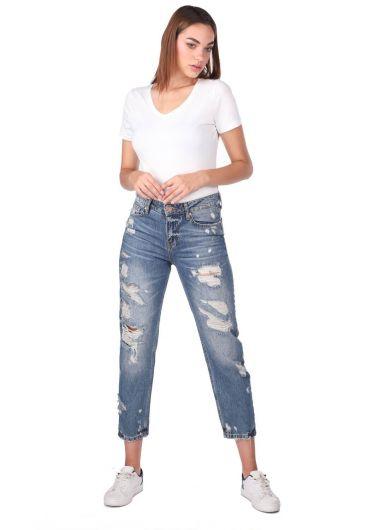 Blue White Kadın Mom Fıt Kot Pantolon - Thumbnail