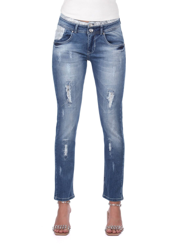 Blue White Kadın Dantel Detaylı Jean Pantolon