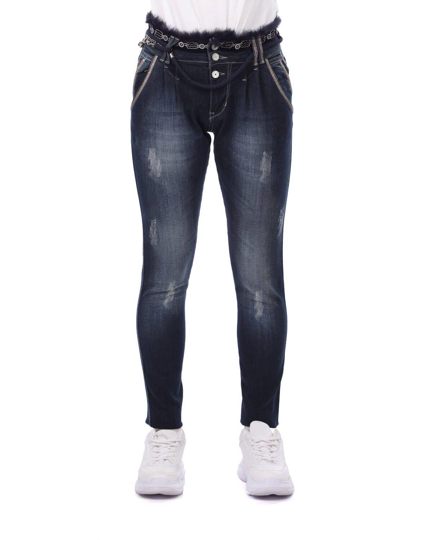 Blue White Kemer Detaylı Kadın Jean Pantolon