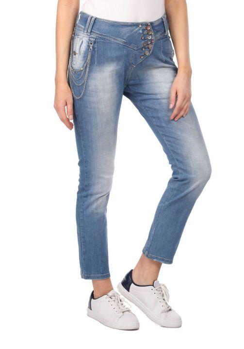 Blue White Kadın Cep Detaylı Jean Pantolon