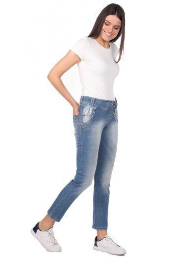 Blue White Kadın Cep Detaylı Kot Pantolon - Thumbnail