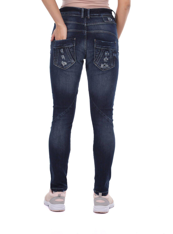 Blue White Kadın Düğmeli Kot Pantolon