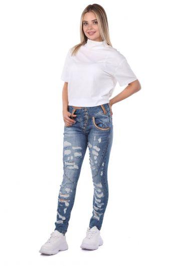 Blue White Kadın Yırtık Detaylı Kot Pantolon - Thumbnail